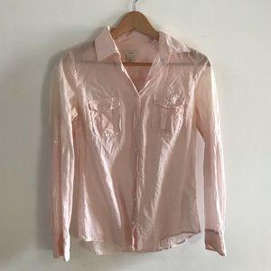 J Crew Pale Pink Cotton Button Up Blouse. Size 2.